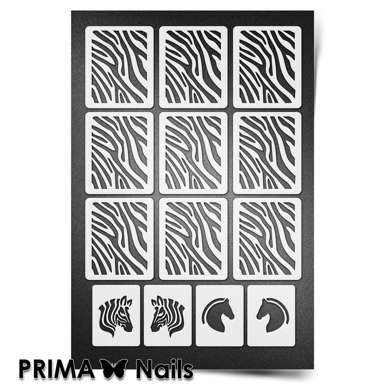 PrimaNails, Трафарет для дизайна ногтей New Size - ЗебраPrimaNails<br>Самоклеющиеся трафареты мини<br>
