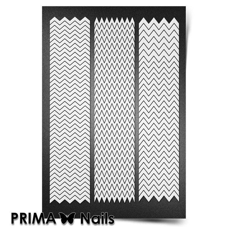 PrimaNails, Трафарет для дизайна ногтей New Size - ЗигзагиPrimaNails<br>Самоклеющиеся трафареты мини<br>