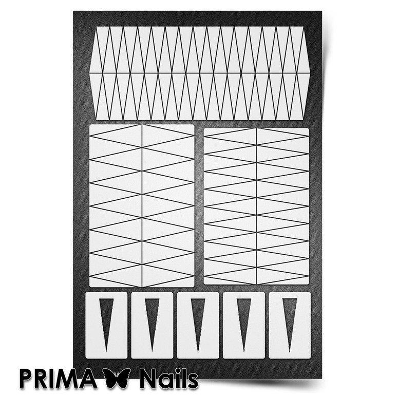 PrimaNails, Трафарет для дизайна ногтей New Size - КлинкиPrimaNails<br>Самоклеющиеся трафареты мини<br>
