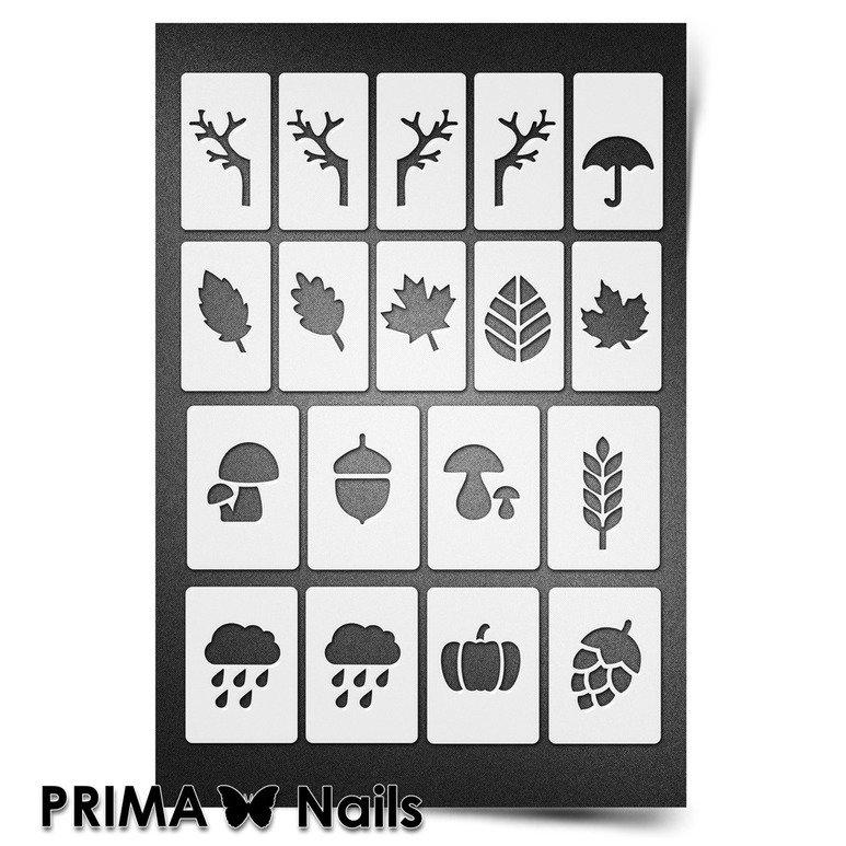 PrimaNails, Трафарет для дизайна ногтей New Size - ОсеньPrimaNails<br>Самоклеющиеся трафареты мини<br>