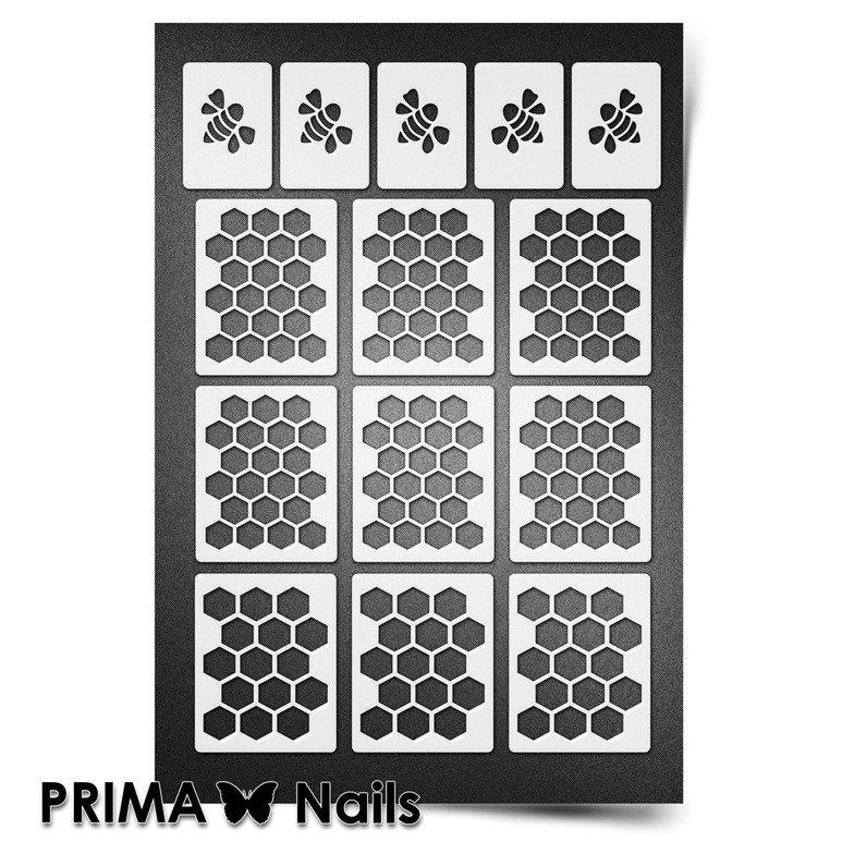PrimaNails, Трафарет для дизайна ногтей New Size - Пчелиные сотыPrimaNails<br>Самоклеющиеся трафареты мини<br>