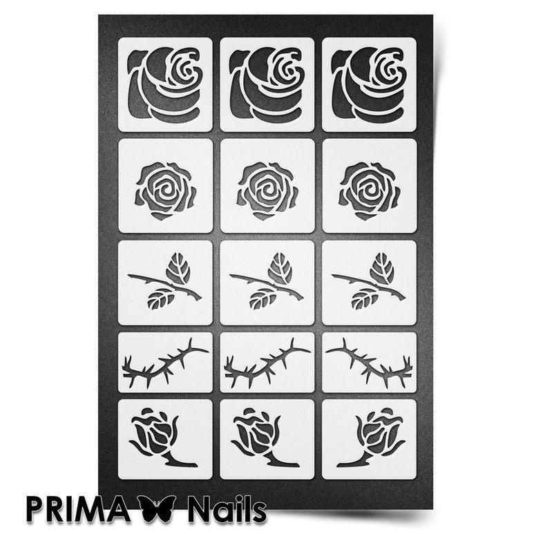 PrimaNails, Трафарет для дизайна ногтей New Size - РозыPrimaNails<br>Самоклеющиеся трафареты мини<br>
