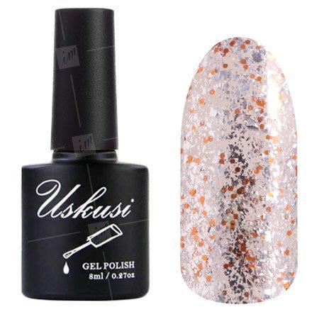 Uskusi, Гель-лак №188 (8 мл.)Uskusi<br>Гель-лак прозрачный с серебристым микроблеском и оранжевыми блестками, плотный<br>