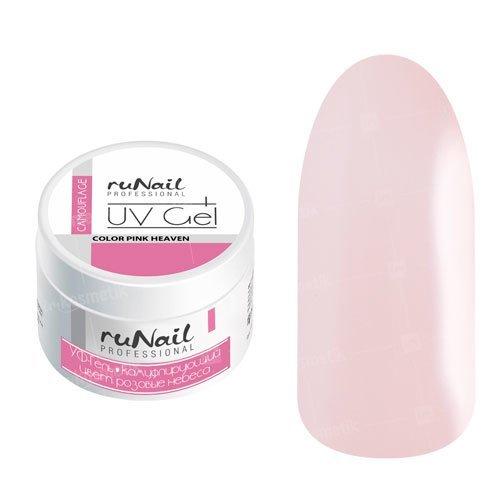 ruNail, УФ-гель камуфлирующий (Розовый, Pink), 15 гУФ гели RuNail<br>Камуфлирующий гель нежного розового цвета, самовыравнивающийся, средней вязкости.<br>