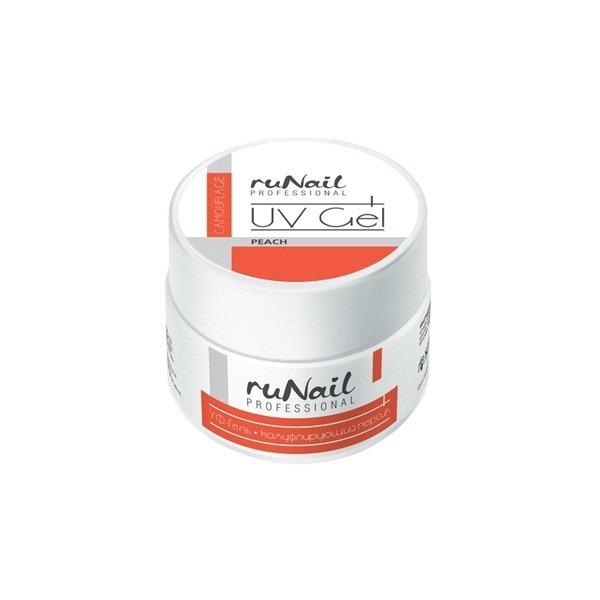 ruNail, УФ-гель камуфлирующий (Персик, Peach), 15 гУФ гели RuNail<br>Камуфлирующий гель цвета нежного персика.<br>