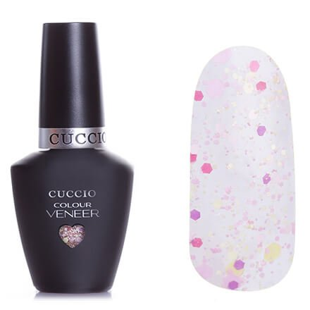 Cuccio Veneer, цвет № 6142 Mimes And Musicians 13 mlCuccio Veneer<br>Гель-лакс разноразмерными розовыми, бледно-розовыми и бледно-желтыми блестками на прозрачной основе, полупрозрачный.<br>